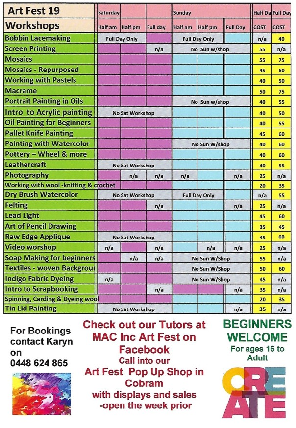 Art Fest 2019 workshops clear