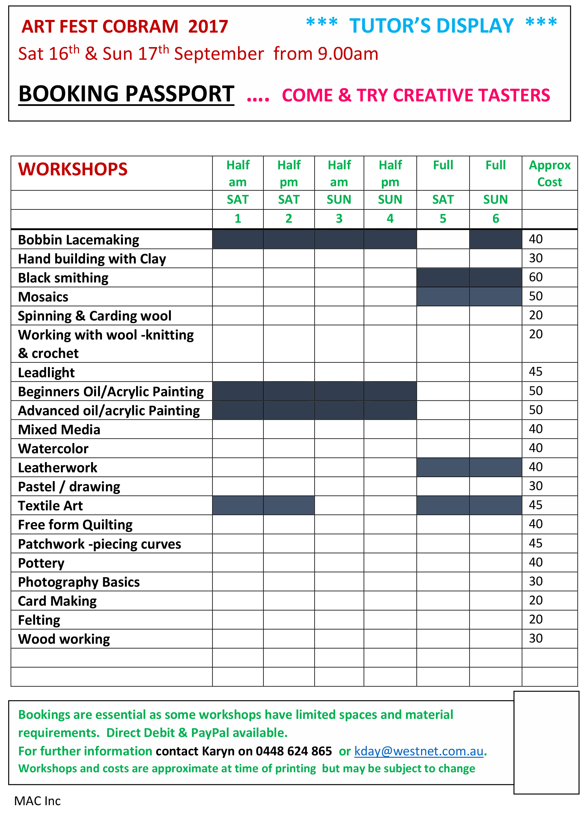Tutors Workshops 2017