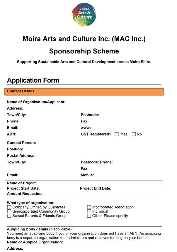 MAC Inc. Sponsorship Scheme Application